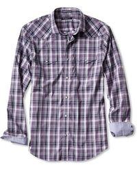Banana Republic Slim-fit Purple Plaid Western Shirt - Lyst