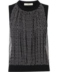 Bouchra Jarrar - Black Printed Silk and Wool Top - Lyst