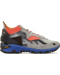 Kolor Grey Neoprene And Leather Sneakers - Lyst
