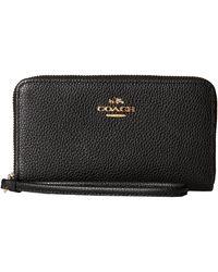 Coach Box Progam Polished Pebble Zip Case - Lyst