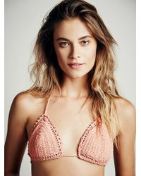 She Made Me Womens Crochet Triangle Top - Lyst