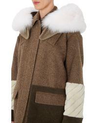 Fendi Shetland Wool  Fox Fur Parka - Lyst