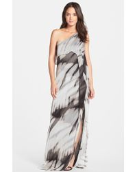Halston Heritage Layered Chiffon One-Shoulder Gown - Lyst