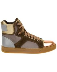 Lanvin Contrasting Panel Hi-Top Sneakers - Lyst