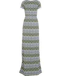Matthew Williamson Bluebell Trellis Stretchcrepe Gown - Lyst