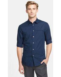 John Varvatos Extra Trim Fit Stripe Roll Sleeve Sport Shirt - Lyst