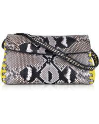 Roberto Cavalli Python Leather Evening Clutch W/Shoulder Strap - Lyst