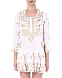 Juliet Dunn Embroidered Cotton Kaftan Whitedull Gold - Lyst