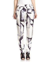 3.1 Phillip Lim Printed Draped Silk Pants - Lyst