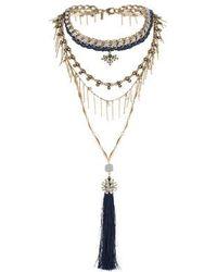Topshop Premium Tassel Drop Necklace - Lyst