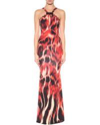 Roberto Cavalli Flames Printed Jersey Dress - Lyst
