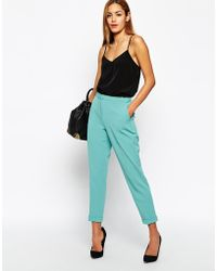 Asos Pants In Slim Leg With Turnup green - Lyst