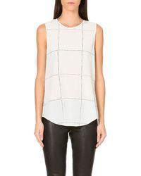 Theory Bringam Checked Silk Top Ivoryred - Lyst