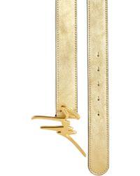 Giuseppe Zanotti Logo-Buckle Metallic Leather Belt gold - Lyst