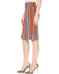 Thakoon - Stiriped Boucle Skirt - Blue/orange - Lyst