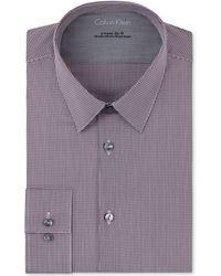 Calvin Klein X Extra Slim Cranberry Microcheck Dress Shirt - Lyst