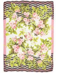 Oscar de la Renta Floral  Stripe-overlay Print Scarf - Lyst