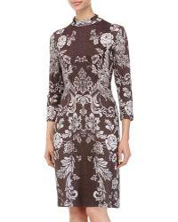 Grayse Studded Floral-Print Long-Sleeve Dress - Lyst