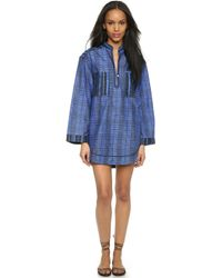 Proenza Schouler Whipsnake Plaid Shirt Dress Cover Up - Blue - Lyst