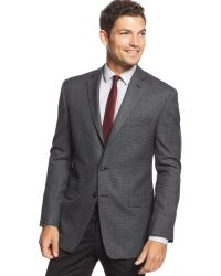 Calvin Klein Charcoal Checked Slim-fit Sport Coat - Lyst