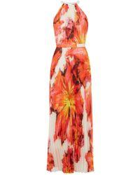 Karen Millen Flower Print Pleated Maxi Dress multicolor - Lyst