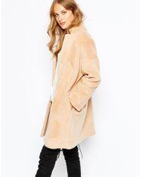 Suncoo - Elvie Coat In Shearling Look - Lyst