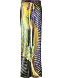 Roberto Cavalli Silk Wide-Leg Trousers - Lyst