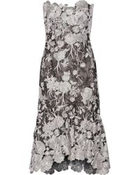 Notte by Marchesa Strapless Embroidered Lace Midi Dress - Lyst
