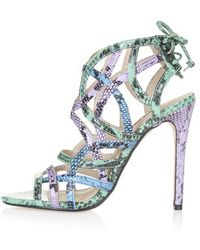 Topshop Resort Snake-Effect Sandals - Lyst