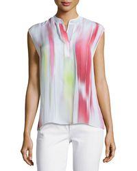 Elie Tahari Decklan Sleeveless Multi-Shade Silk Blouse - Lyst