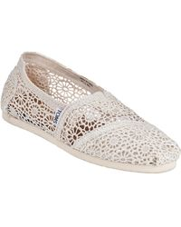 TOMS Crochet Classic Slip-On Natural Fabric - Lyst