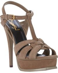 Saint Laurent Tribute T-Strap Platform Sandals - Lyst