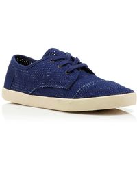 TOMS Lace Up Perforated Flat Sneakers - Paseo - Lyst