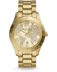 Michael Kors Mid-Size Golden Stainless Steel Layton Three-Hand Glitz Watch - Lyst