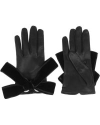 Alexander McQueen Bowembellished Leather Gloves - Lyst