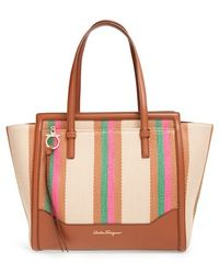 Ferragamo | 'medium Amy' Leather & Raffia Tote | Lyst