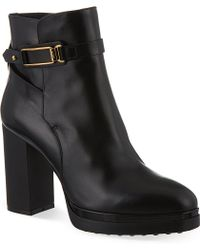 Tod's Gomma Leather Heeled Ankle Boots - Lyst