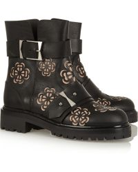 Alexander McQueen Laser-Cut Leather Ankle Boots - Lyst