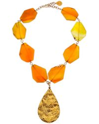 Devon Leigh Hammered Gold Plated Teardrop & Yellow Agate Necklace - Lyst