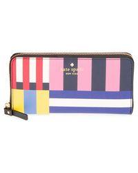 Kate Spade   'cedar Street - Lacey' Stripe Zip Around Wallet   Lyst