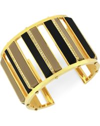 Vince Camuto - Goldtone Black and Brown Crystal Cutout Cuff Bracelet - Lyst