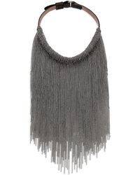 Brunello Cucinelli Brass & Leather Fringe Necklace - Lyst