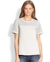 Rebecca Taylor Short-Sleeve Perforated Leather Top - Lyst