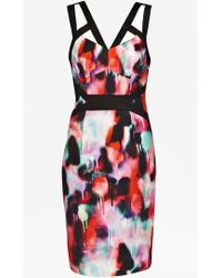 French Connection Miami Graffiti Strappy Dress pink - Lyst