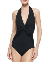 MICHAEL Michael Kors Deep-v Twisted Halter Maillot - Lyst