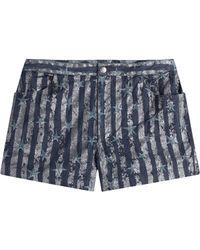Anna Sui Printed Denim Shorts blue - Lyst
