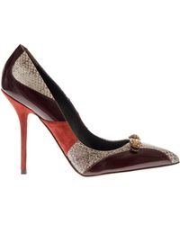 Dolce & Gabbana Bellucci Leather And Ayers Snakeskin Pumps red - Lyst