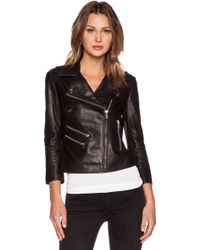 Anine Bing Cropped Leather Jacket - Lyst