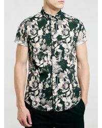 Topman Dark Roses Short Sleeve Smart Shirt - Lyst
