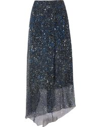 Jonathan Saunders Tabitha Asymmetric Printed Silk-Chiffon Skirt - Lyst
